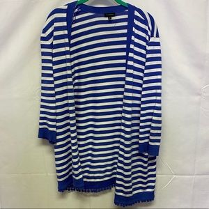 Talbots blue and white cardigan